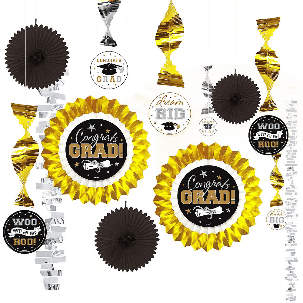 Graduation Decorating Kit Black, Gold, & Silver (13)