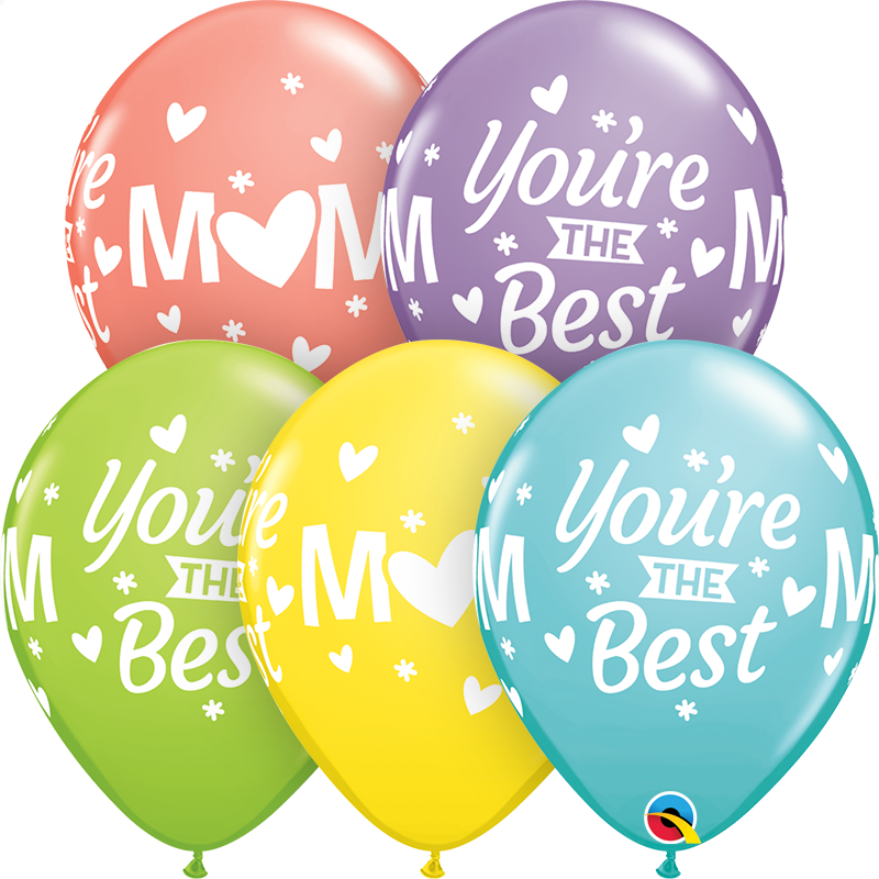 "Mom you're the Best 11"" Latex Balloon (Uninflated)"