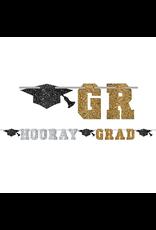 Glitter Hooray Grad Letter Banner - Black, Gold & Silver