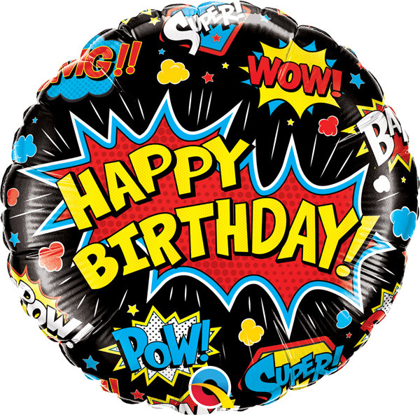 "Birthday Super Hero 18"" Mylar Balloon"