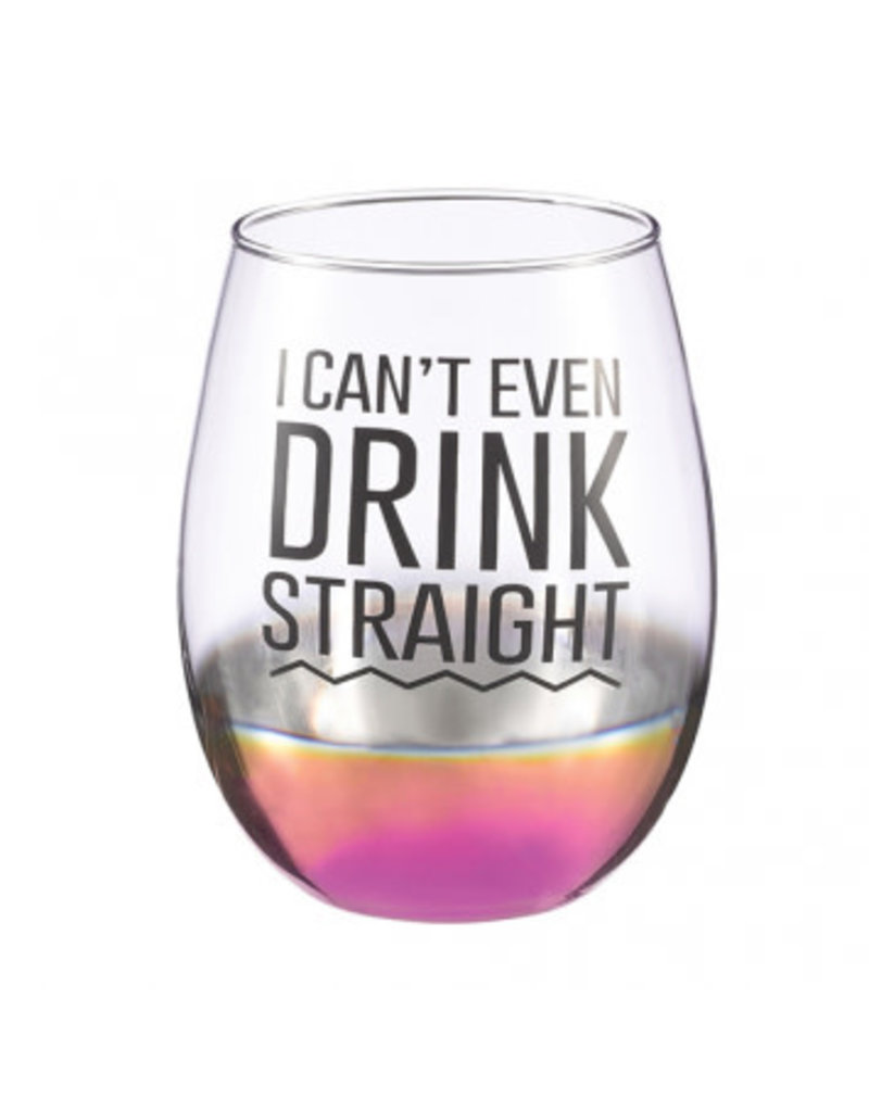 """Drink Straight"" Stemless Wine Glass"
