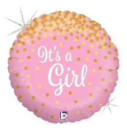 "It's A Girl Glitter 18"" Mylar Balloon"