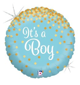 "It's A Boy Glitter 18"" Mylar Balloon"