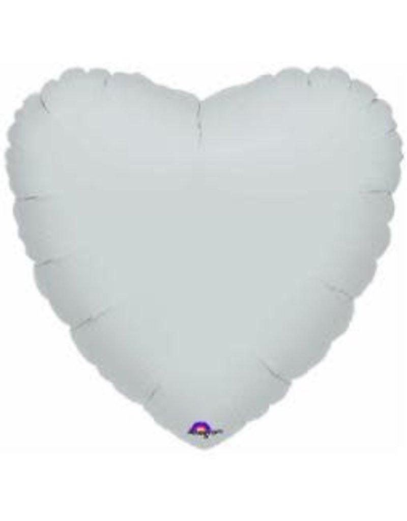Silver Heart 18'' Mylar Balloon