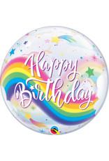 """Birthday Rainbow Unicorn 22"""" Bubble Balloon"""