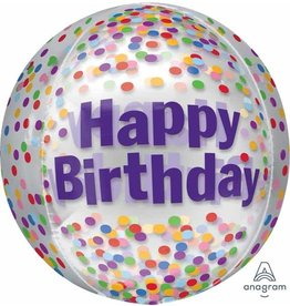 "Happy Birthday Funfetti 16"" Orbz Balloon"