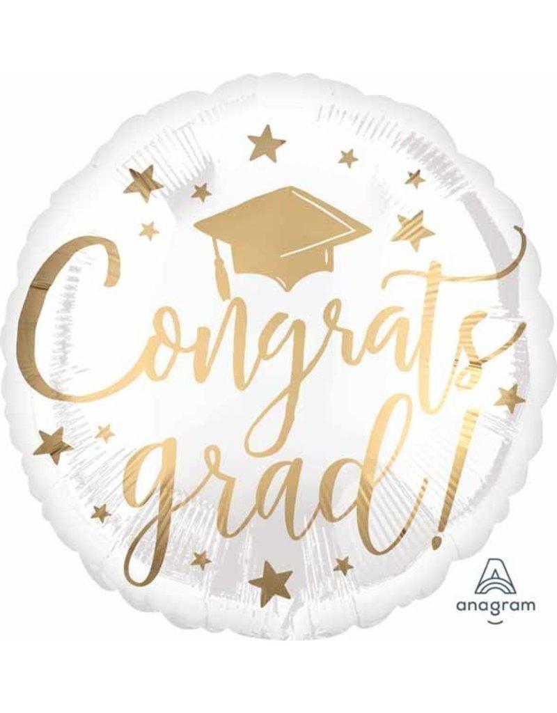 "Congrats Grad White & Gold 18"" Mylar Balloon"