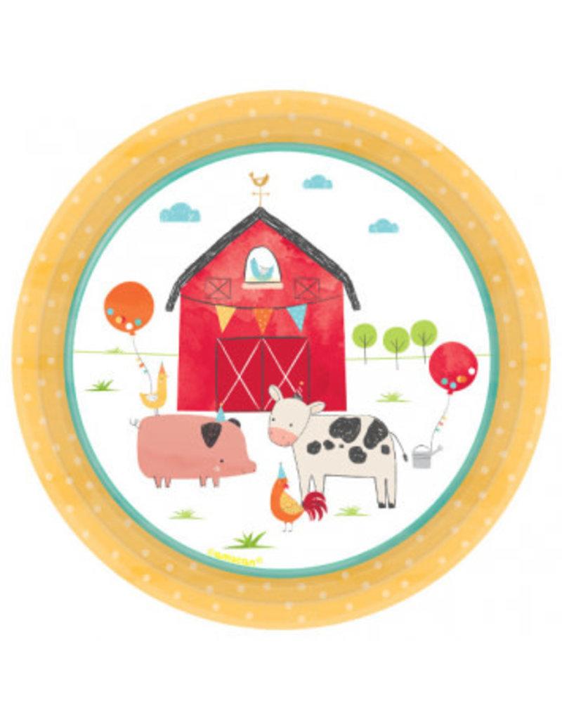 """Barnyard Birthday Round 7"""" Plate (8)"""