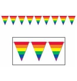 """Rainbow Pennant Banner 10"""" X 12'"""