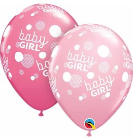 "11"" Baby Girl Pink Dots Balloon (Without Helium)"