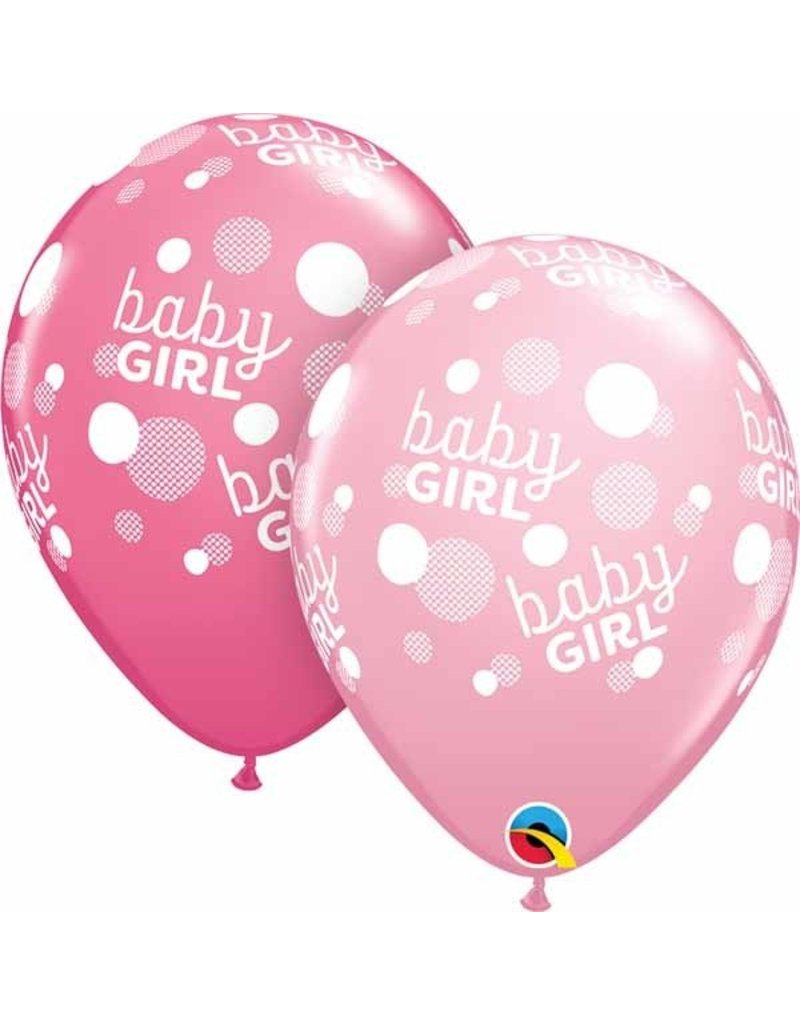 """11"""" Baby Girl Pink Dots Balloon (Without Helium)"""