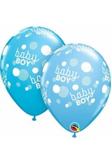 """11"""" Baby Boy Blue Dots Balloon (Without Helium)"""