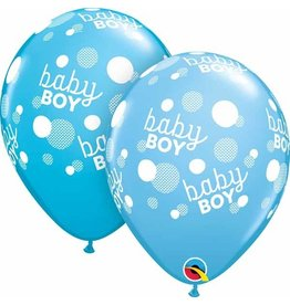 "11"" Baby Boy Blue Dots Balloon (Without Helium)"