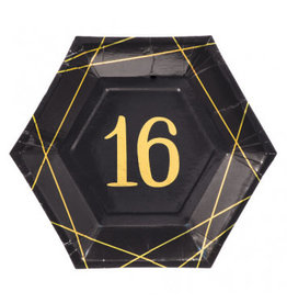 """Elegant Sixteen Metallic Octagonal 7"""" Plates (8)"""
