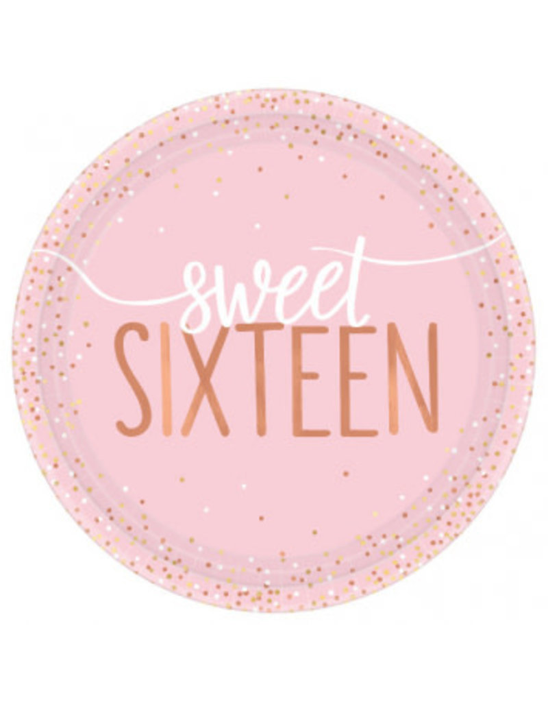 "Blush Sixteen Foil Round 7"" Plates (8)"