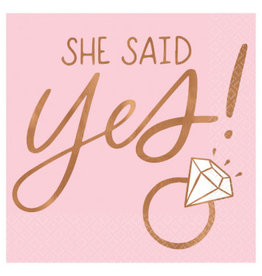 She Said Yes Beverage Napkins - Hot Stamped