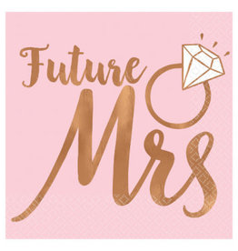 Blush Wedding Beverage Napkins Future Mrs. - Hot Stamped