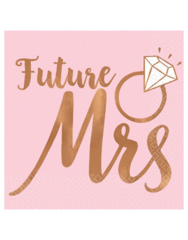 Blush Wedding Beverage Napkins Future Mrs. - Hot Stamped