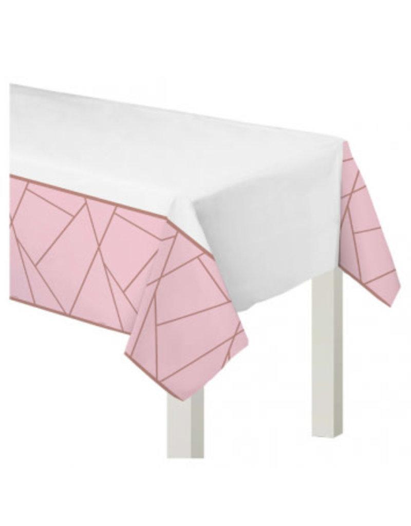 Blush Wedding Plastic Table Cover