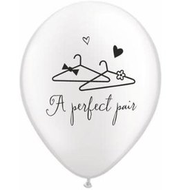 "11"" Pearl White A Perfect Pair Balloon (Without Helium)"
