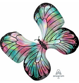 "Iridescent Teal/Pink Butterfly 30"" Mylar Balloon"