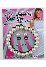 50's Pearl Necklace & Earrings