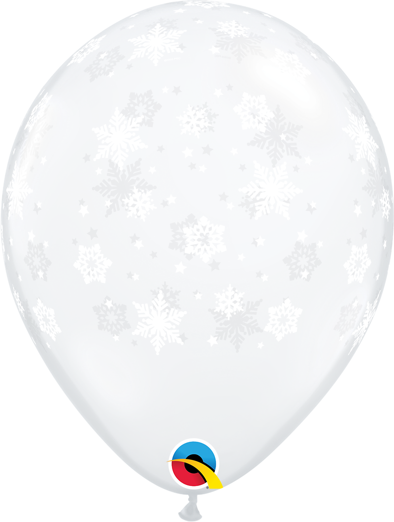 """11"""" Printed Clear Snowflakes Balloon (Without Helium)"""