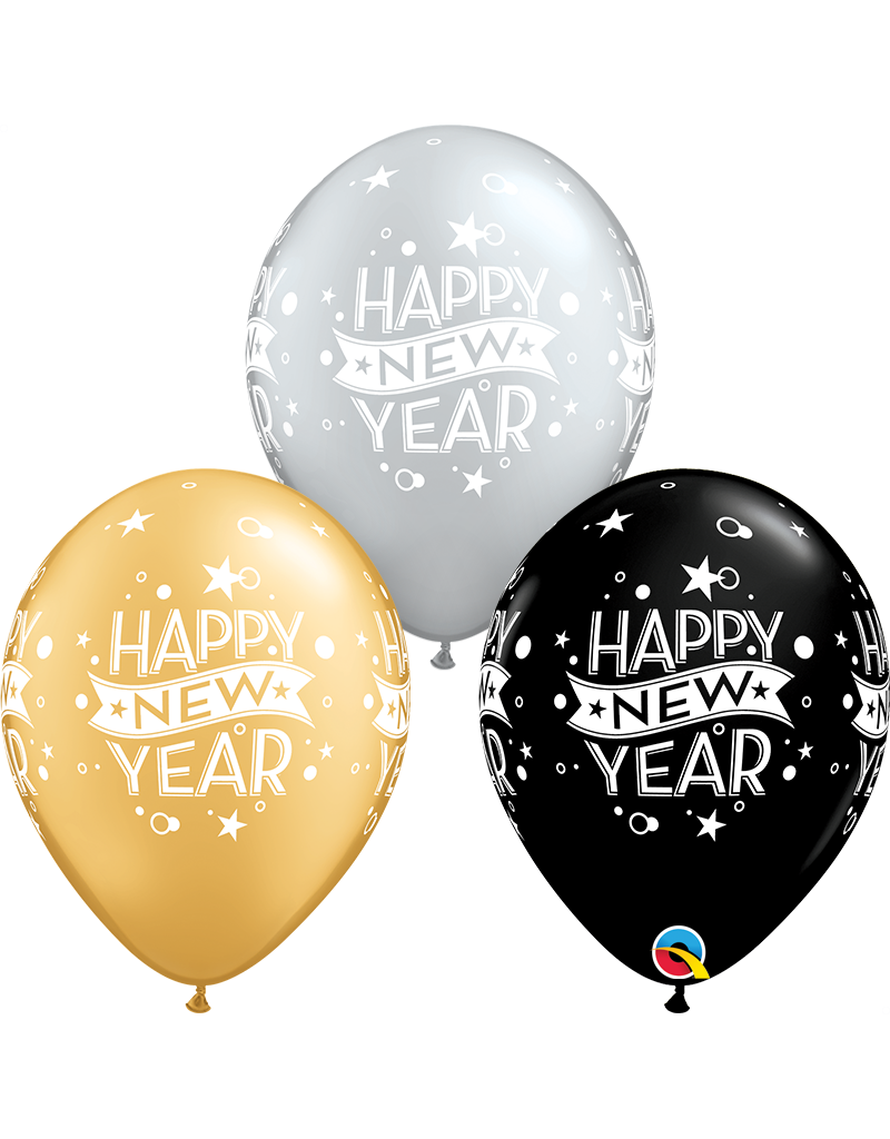 """11"""" New Years Confetti Dots Balloon (Without Helium)"""