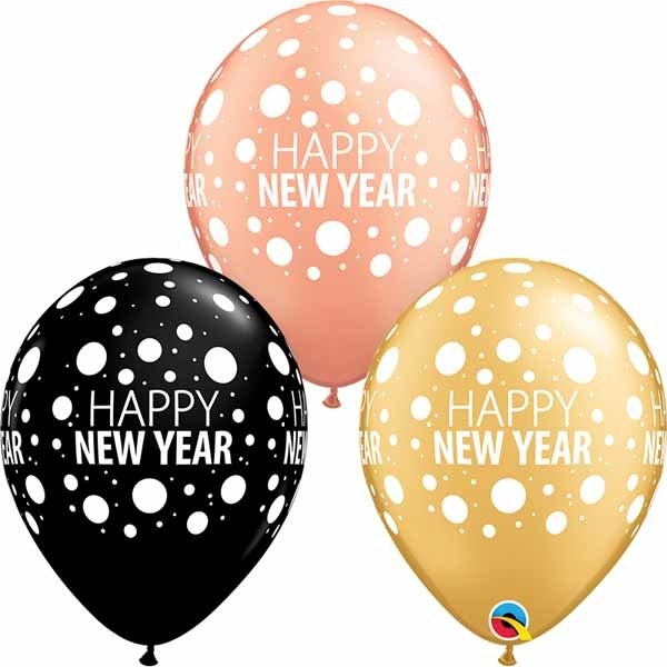 """11"""" New Years Dots Gold, Black, & Rose Gold (Without Helium)"""