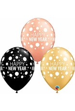 "11"" New Years Dots Gold, Black, & Rose Gold (Without Helium)"