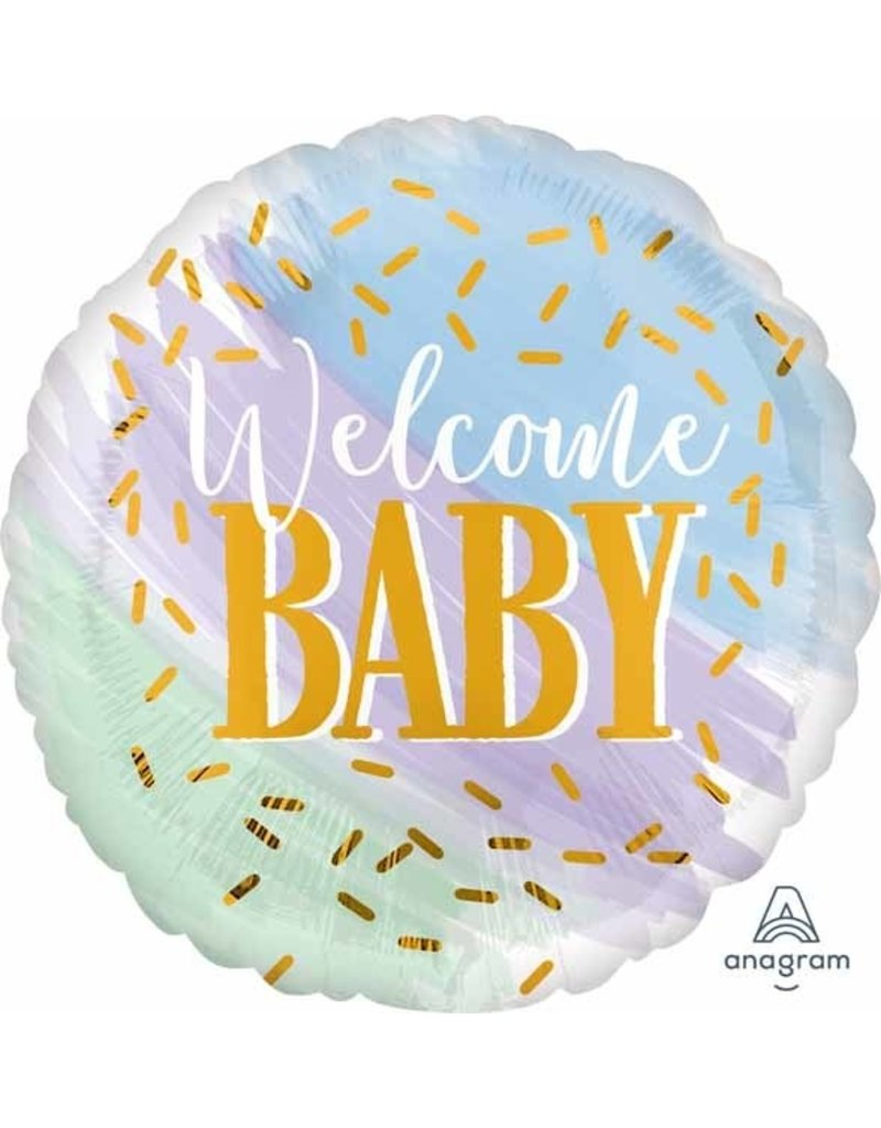 "Welcome Baby Water Colour 18"" Mylar Balloon"
