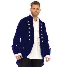 Men's Costume Long Blue Velvet Coat Extra Large