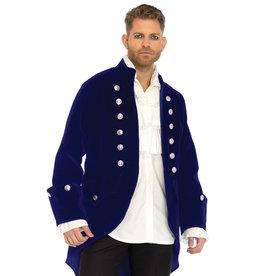 Men's Costume Long Blue Velvet Coat Medium