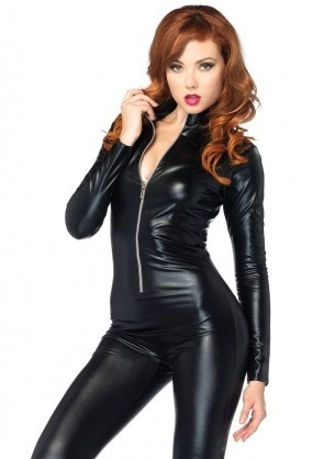 Wet Look Zipper Front Catsuit  Large Costume