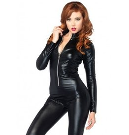 Wet Look Zipper Front Catsuit  Small Costume