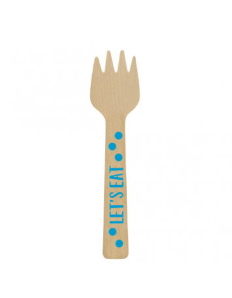 Mini Wooden Forks - Blue (12)