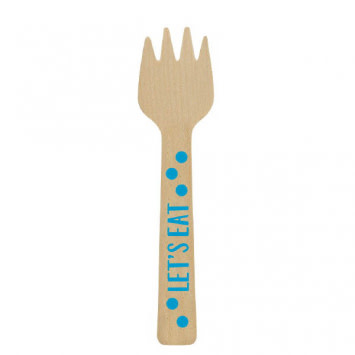Mini Wooden Forks - Blue (12)