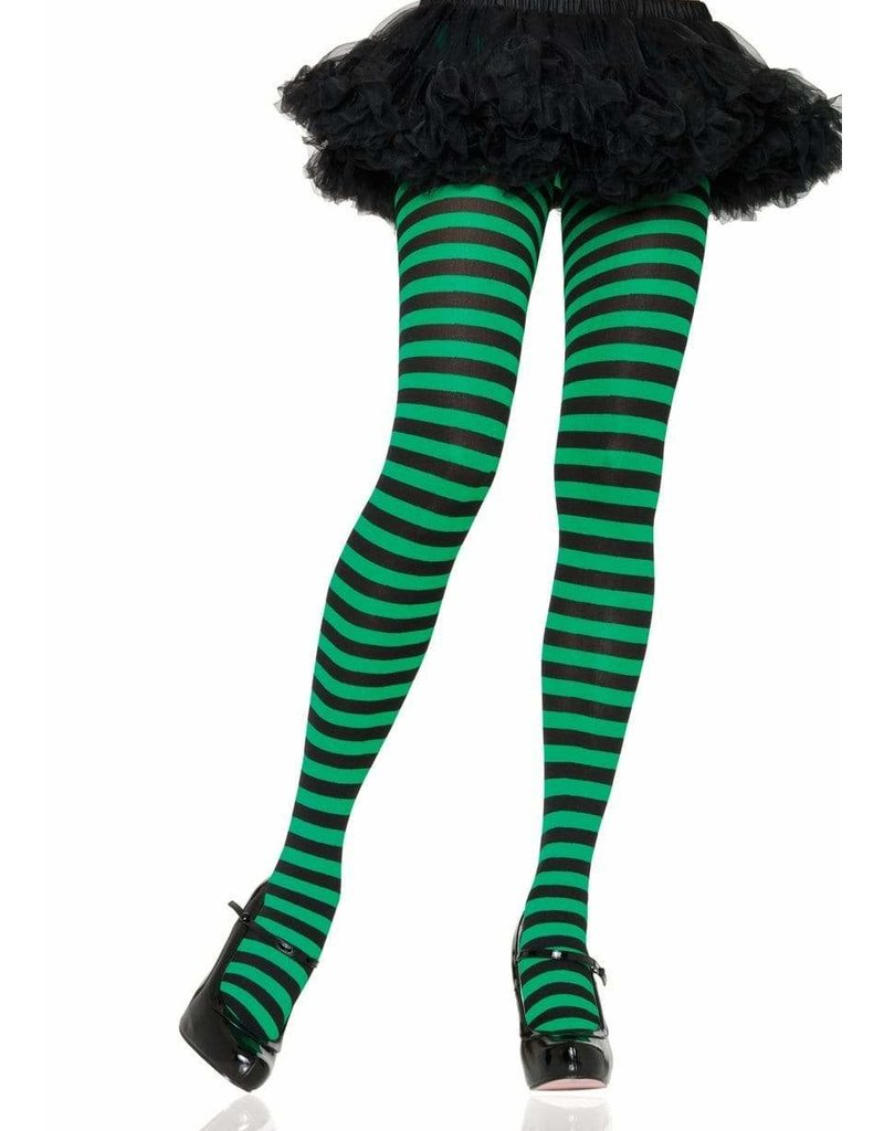 Black & Green Striped Pantyhose