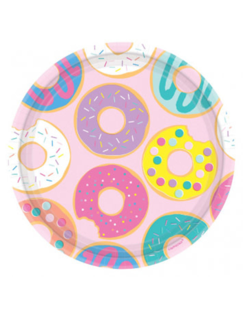 "Donut Party Round 9"" Plates"