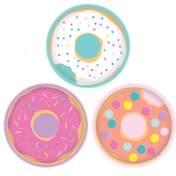 "Donut Party Assorted Round 7"" Plates (8)"