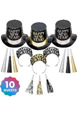 New Years Midnight Elegance Party Kit for 10 People -Black, Gold & Silver