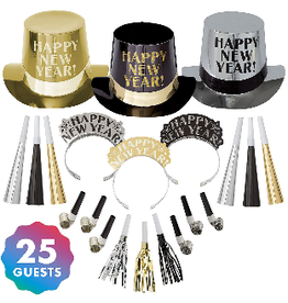 New Years Get The Party Started Party Kit For 25 People-Black, Gold & Silver