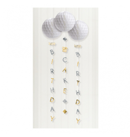 Birthday Silver & Gold Honeycombs With Tails