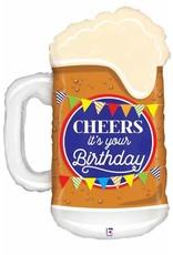 """Cheers Birthday Beer 34"""" Mylar Balloon"""