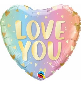 "Love You Pastel Ombre & Hearts 18"" Mylar Balloon"