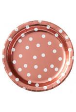 "6 3/4"" Round Plates Metallic Confetti Dot - Rose Gold"