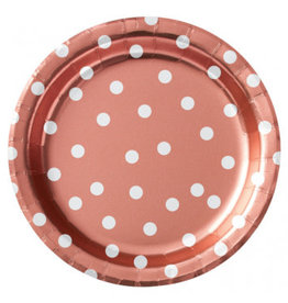 "6 3/4"" Round Plates Metallic Confetti Dot - Rose Gold"