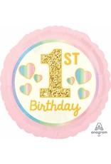 "1ST Birthday Girl Pink/Gold 18"" Mylar Balloon"