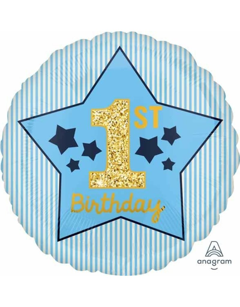 "1ST Birthday Boy Blue/Gold 18"" Mylar Balloon"