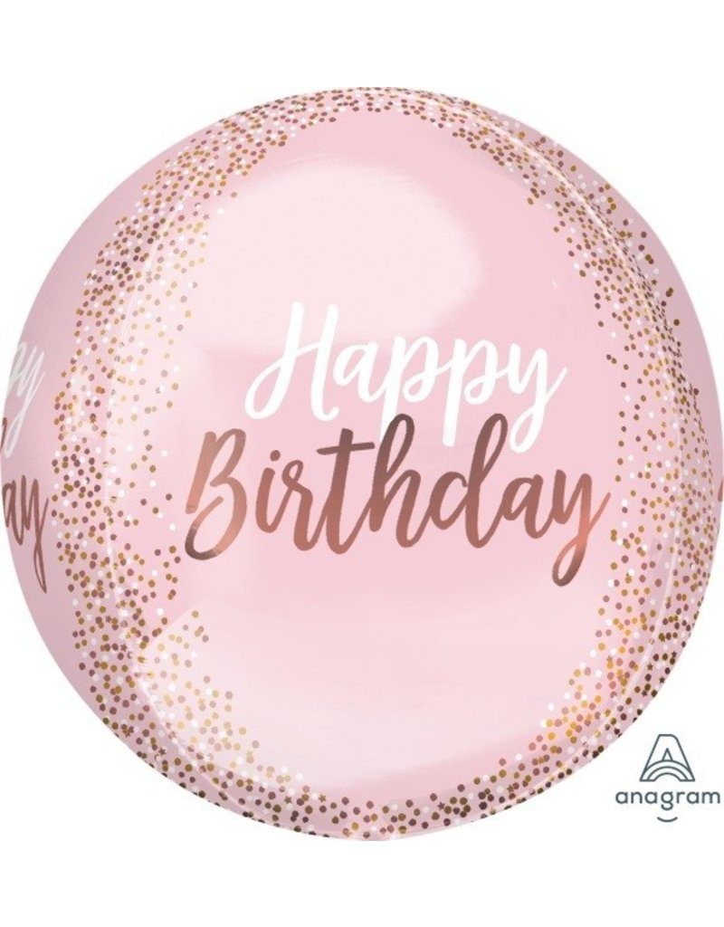 Blush Birthday Orbz Mylar Balloon